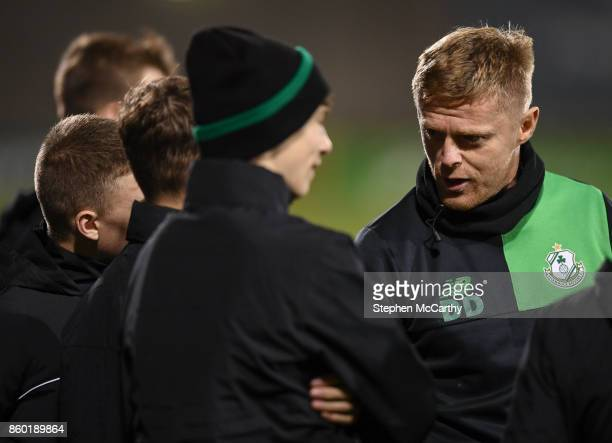 Dublin Ireland 10 October 2017 Shamrock Rovers coach Damien Duff speaks with Shamrock Rovers underage players during the Irish Daily Mail FAI Cup...