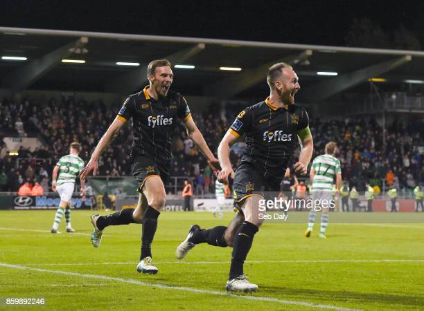 Dublin Ireland 10 October 2017 Stephen ODonnell of Dundalk right celebrates after scoring his side's fourth goal with teammate David McMillan during...
