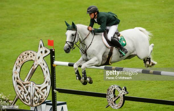 Dublin Ireland 11 August 2017 Betram Allen of Ireland competing on Molly Malone V during the Furusiyya FEI Nations Cup presented by Longines at the...