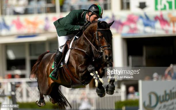 Dublin Ireland 11 August 2017 Cian OConnor of Ireland competing on Good Luck during the Furusiyya FEI Nations Cup presented by Longines at the Dublin...