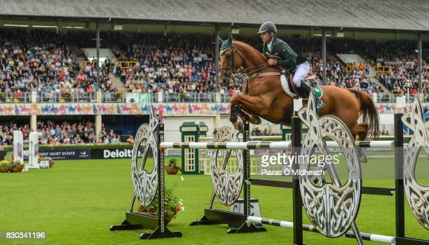 Dublin Ireland 11 August 2017 Denis Lynch of Ireland competing on Rmf Echo during the Furusiyya FEI Nations Cup presented by Longines at the Dublin...