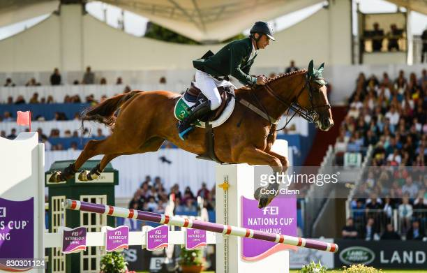 Dublin Ireland 11 August 2017 Denis Lynch of Ireland fails to clear an obstacle on Rmf Echo during the FEI Nations Cup during the Dublin...