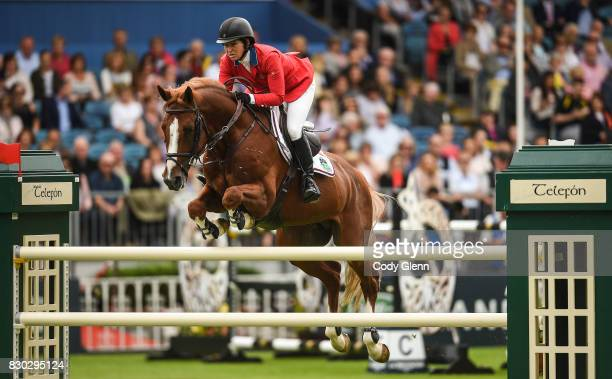 Dublin Ireland 11 August 2017 Elizabeth Madden of USA competing on Darry Lou during the FEI Nations Cup during the Dublin International Horse Show at...