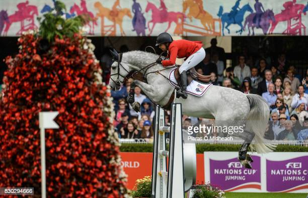 Dublin Ireland 11 August 2017 Laura Kraut of USA competing on Confu during the FEI Nations Cup during the Dublin International Horse Show at RDS...