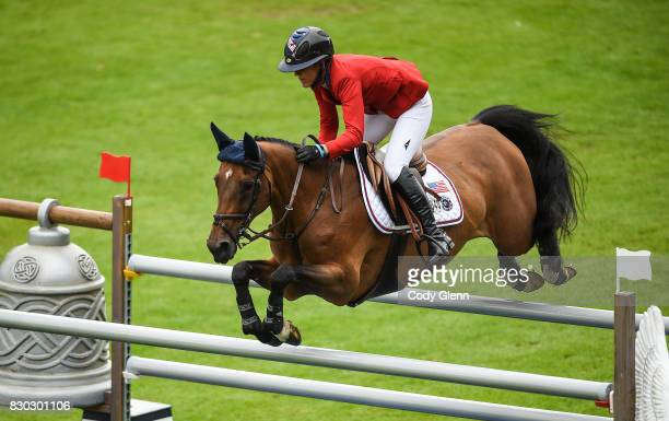 Dublin Ireland 11 August 2017 Lauren Hough of USA competing on Ohlala during the FEI Nations Cup during the Dublin International Horse Show at RDS...