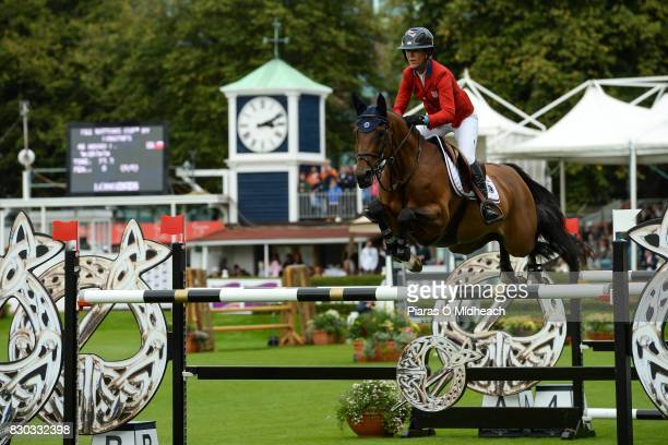 Dublin Ireland 11 August 2017 Lauren Hough of USA competing on Ohlala during the Furusiyya FEI Nations Cup presented by Longines at the Dublin...