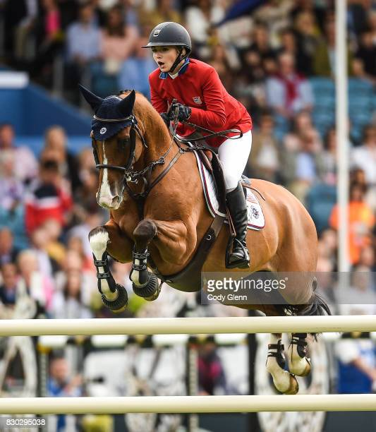 Dublin Ireland 11 August 2017 Lillie Keenan of USA competing on Super Sox during the FEI Nations Cup during the Dublin International Horse Show at...