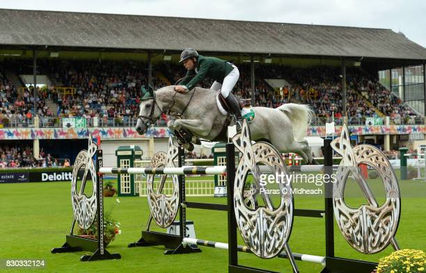 Dublin Ireland 11 August 2017 Mark McAuley of Ireland competing on Miebello during the Furusiyya FEI Nations Cup presented by Longines at the Dublin...