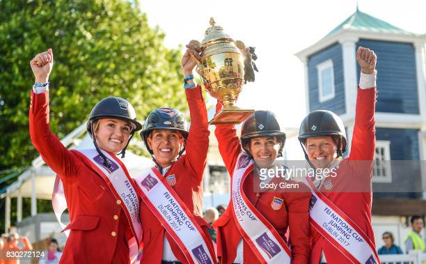 Dublin Ireland 11 August 2017 Members of the winning USA team from left Lillie Keenan Lauren Hough Laura Kraut and Elizabeth Madden lift the Aga Khan...