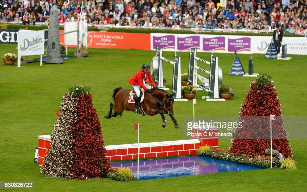 Dublin Ireland 11 August 2017 Warner Muff of Switzerland competing on Damiler during the Furusiyya FEI Nations Cup presented by Longines at the...