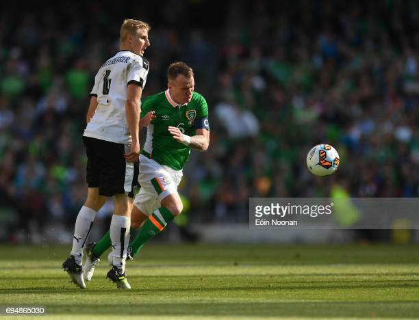 Dublin Ireland 11 June 2017 Glenn Whelan of Republic of Ireland in action against Konrad Laimer of Austria during the FIFA World Cup Qualifier Group...