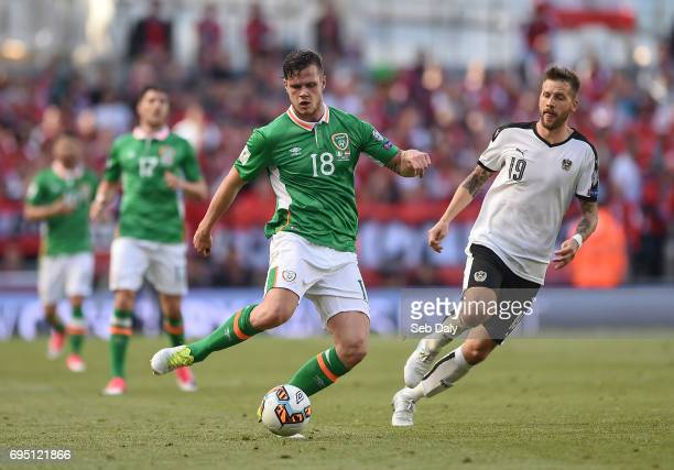Dublin Ireland 11 June 2017 Kevin Long of Republic of Ireland in action against Guido Burgstaller of Austria during the FIFA World Cup Qualifier...