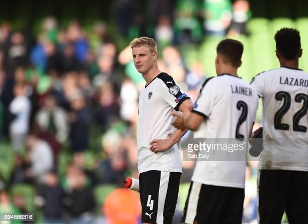 Dublin Ireland 11 June 2017 Martin Hinteregger left of Austria reacts following the FIFA World Cup Qualifier Group D match between Republic of...
