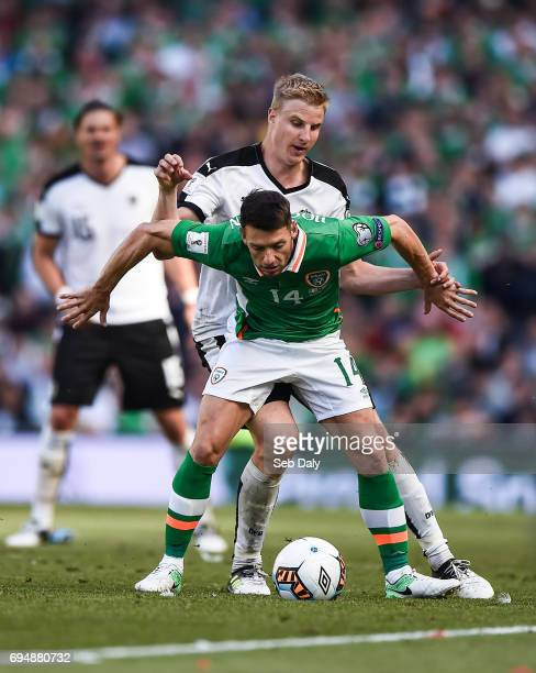 Dublin Ireland 11 June 2017 Wes Hoolahan of Republic of Ireland in action against Martin Hinteregger of Austria during the FIFA World Cup Qualifier...
