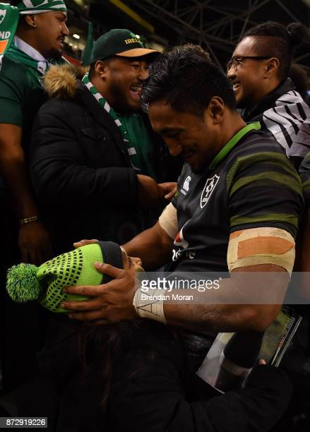 Dublin Ireland 11 November 2017 Bundee Aki of Ireland ceebrates with his daughter Adrianna age 6 after the Guinness Series International match...