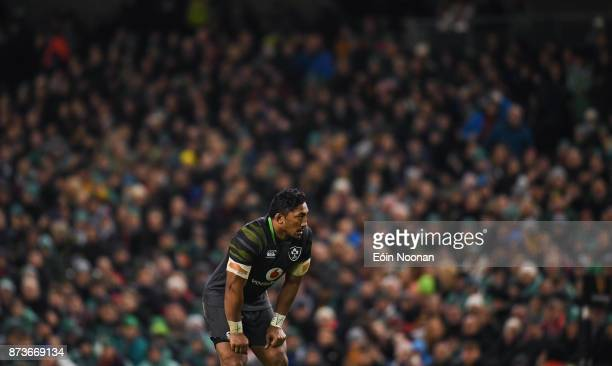 Dublin Ireland 11 November 2017 Bundee Aki of Ireland during the Guinness Series International match between Ireland and South Africa at the Aviva...