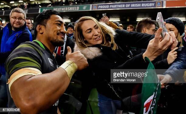 Dublin Ireland 11 November 2017 Bundee Aki of Ireland poses for a 'selfie' with a fan after the Guinness Series International match between Ireland...