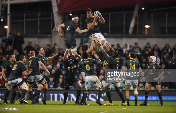 Dublin Ireland 11 November 2017 Eben Etzebeth of South Africa claims the lineout ahead of Peter O'Mahony of Ireland during the Guinness Series...