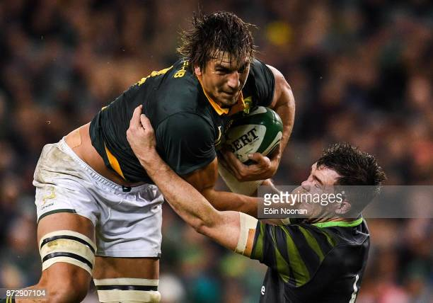 Dublin Ireland 11 November 2017 Eben Etzebeth of South Africa is tackled by Peter O'Mahony of Ireland during the Guinness Series International match...