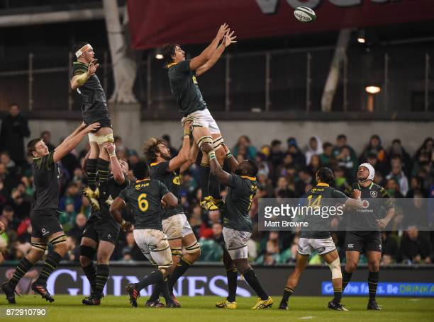 Dublin Ireland 11 November 2017 Eben Etzebeth of South Africa wins the ball ahead of Peter O'Mahony of Ireland during the Guinness Series...