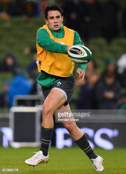 Dublin Ireland 11 November 2017 Joey Carbery of Ireland prior to the Guinness Series International match between Ireland and South Africa at the...