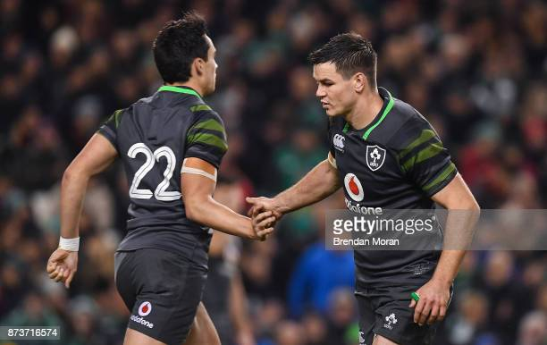 Dublin Ireland 11 November 2017 Jonathan Sexton of Ireland right leaves the pitch as he is replaced by teammate Joey Carbery during the Guinness...