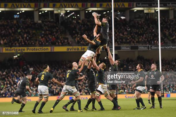 Dublin Ireland 11 November 2017 Peter O'Mahony of Ireland claims the lineout ahead of Lood de Jager of South Africa during the Guinness Series...