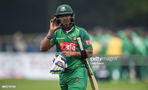 Dublin Ireland 12 May 2017 Sabbir Rahman of Bangladesh is dismissed after being caught out by Tim Murtagh of Ireland during the International between...