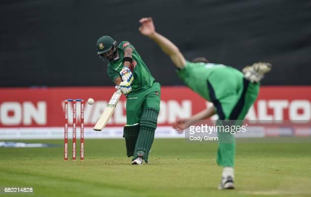 Dublin Ireland 12 May 2017 Sabbir Rahman of Bangladesh looks to play a shot off Peter Chase of Ireland during the International between Ireland and...