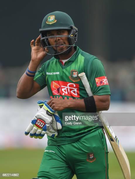 Dublin Ireland 12 May 2017 Sabbir Rahman of Bangladesh walks off after being caught out by Tim Murtagh of Ireland during the International between...