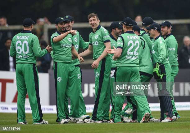 Dublin Ireland 12 May 2017 Tim Murtagh of Ireland second from left is congratulated by teammates after catching out Sabbir Rahman of Bangladesh...