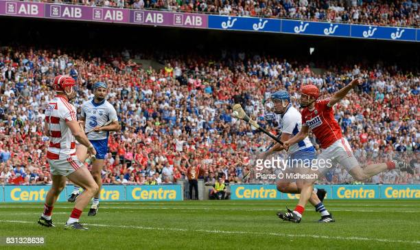 Dublin Ireland 13 August 2017 Austin Gleeson of Waterford supported by teammate Michael Walsh left scores his side's third goal despite the efforts...