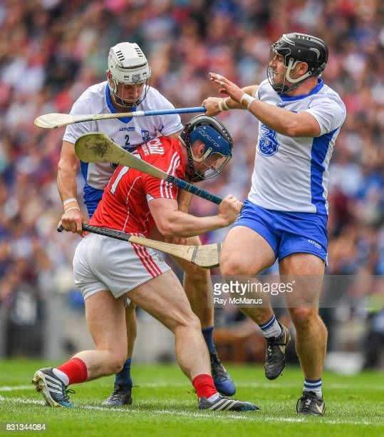 Dublin Ireland 13 August 2017 Conor Lehane of Cork is tackled by Shane Fives and Noel Connors of Waterford during the GAA Hurling AllIreland Senior...