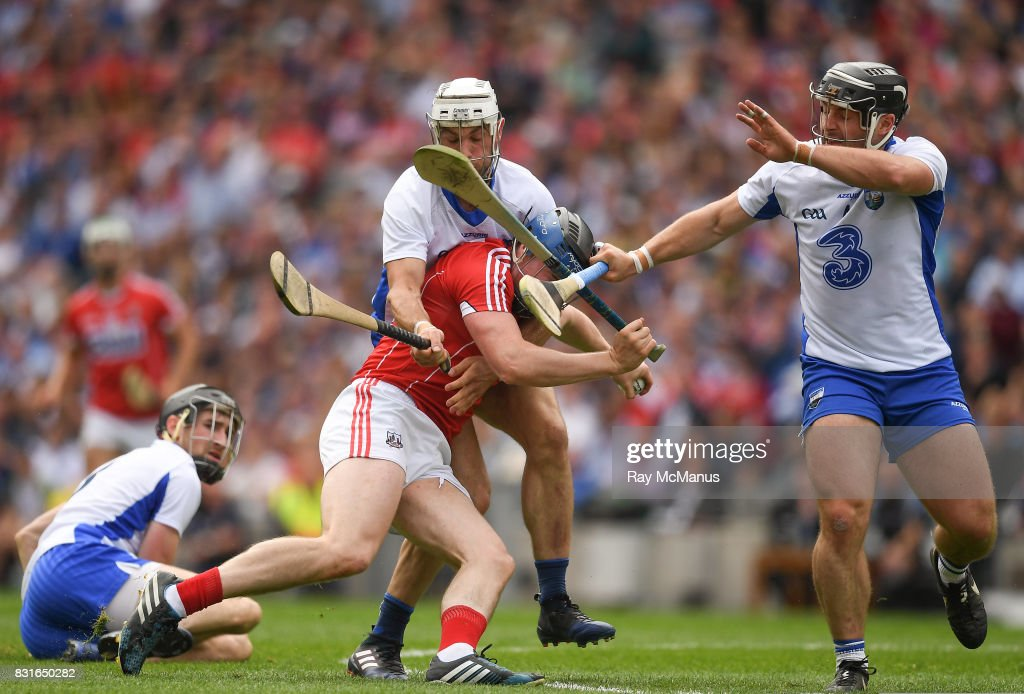 Dublin , Ireland - 13 August 2017; Conor Lehane of Cork is taqckled by Shane Fives and Noel Connors of Waterford during the GAA Hurling All-Ireland Senior Championship Semi-Final match between Cork and Waterford at Croke Park in Dublin.