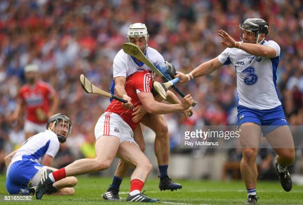 Dublin Ireland 13 August 2017 Conor Lehane of Cork is taqckled by Shane Fives and Noel Connors of Waterford during the GAA Hurling AllIreland Senior...