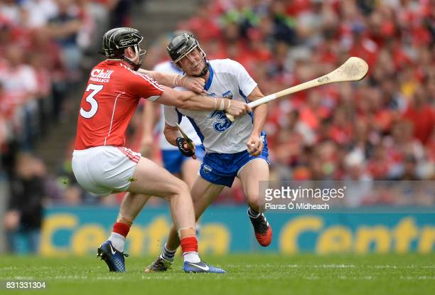 Dublin Ireland 13 August 2017 Damien Cahalane of Cork fouls Conor Gleeson of Waterford for which he was sent off for a second yellow card offence by...