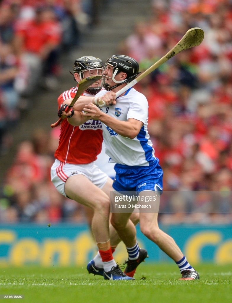 Dublin , Ireland - 13 August 2017; Damien Cahalane of Cork fouls Conor Gleeson of Waterford, for which he was sent off for a second yellow card offence by referee James Owens, during the GAA Hurling All-Ireland Senior Championship Semi-Final match between Cork and Waterford at Croke Park in Dublin.