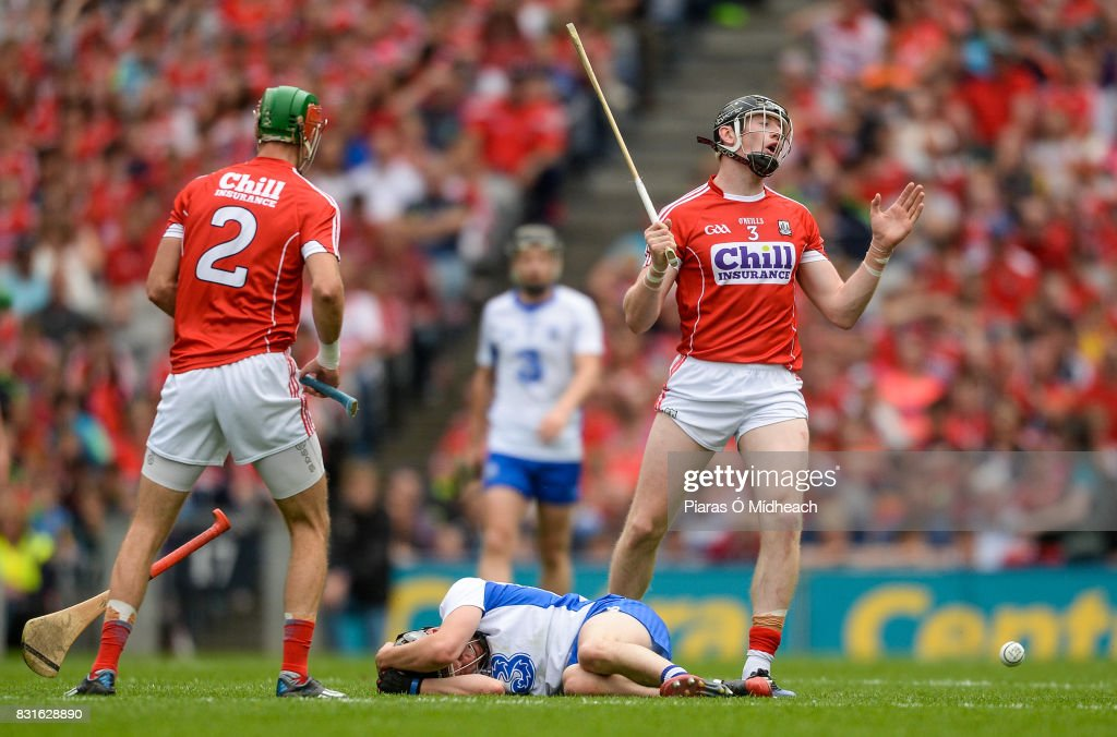 Dublin , Ireland - 13 August 2017; Damien Cahalane of Cork reacts after fouling Jamie Barron of Waterford, bottom, for which he was sent off for a second bookable offence by referee James Owens during the GAA Hurling All-Ireland Senior Championship Semi-Final match between Cork and Waterford at Croke Park in Dublin.