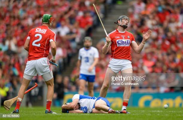 Dublin Ireland 13 August 2017 Damien Cahalane of Cork reacts after fouling Jamie Barron of Waterford bottom for which he was sent off for a second...