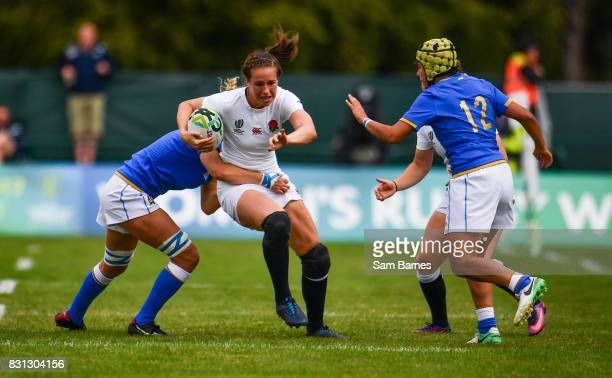 Emily Scarratt of England in action against Isabella Locatelli of Italy during the 2017 Women's Rugby World Cup Pool B match between England and...
