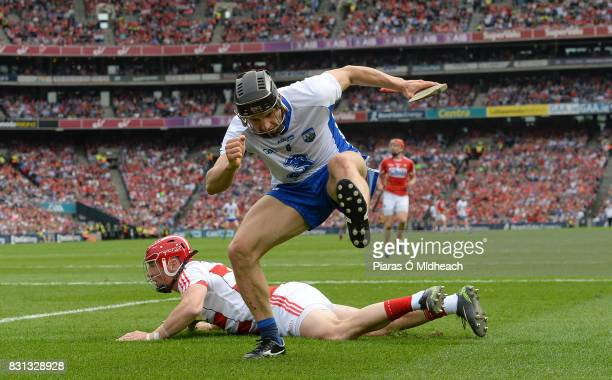 Dublin Ireland 13 August 2017 Jamie Barron of Waterford after scoring his side's second goal as Cork goalkeeper Anthony Nash looks on during the GAA...