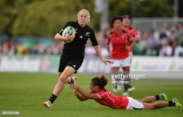 Kelly Brazier of New Zealand in action against Chong Ka Yan of Hong Kong during the 2017 Women's Rugby World Cup Pool A match between New Zealand and...