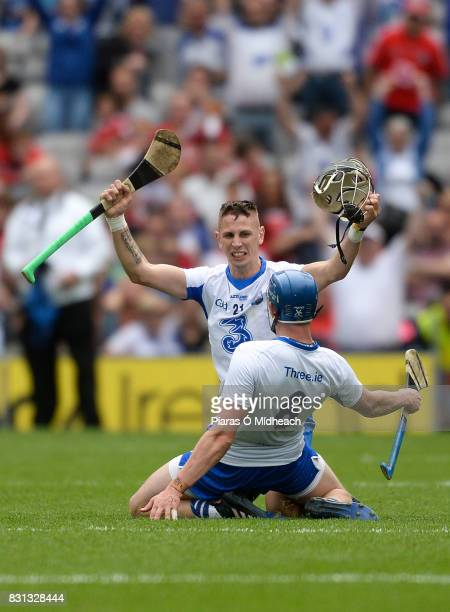 Dublin Ireland 13 August 2017 Maurice Shanahan behind and Austin Gleeson of Waterford celebrate after the GAA Hurling AllIreland Senior Championship...