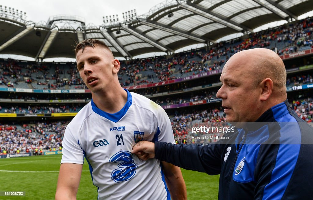Dublin , Ireland - 13 August 2017; Maurice Shanahan of Waterford with manager Derek McGrath after the GAA Hurling All-Ireland Senior Championship Semi-Final match between Cork and Waterford at Croke Park in Dublin.
