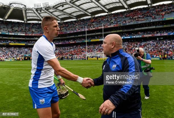 Dublin Ireland 13 August 2017 Maurice Shanahan of Waterford with manager Derek McGrath after the GAA Hurling AllIreland Senior Championship SemiFinal...