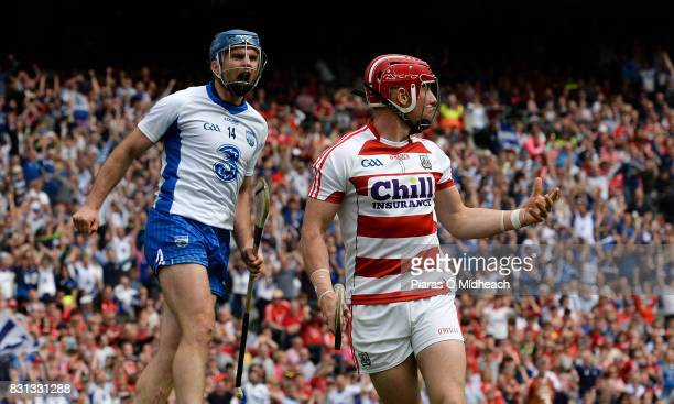 Dublin Ireland 13 August 2017 Michael Walsh of Waterford celebrates his side's third goal scored by teammate Austin Gleeson as Cork goalkeeper...