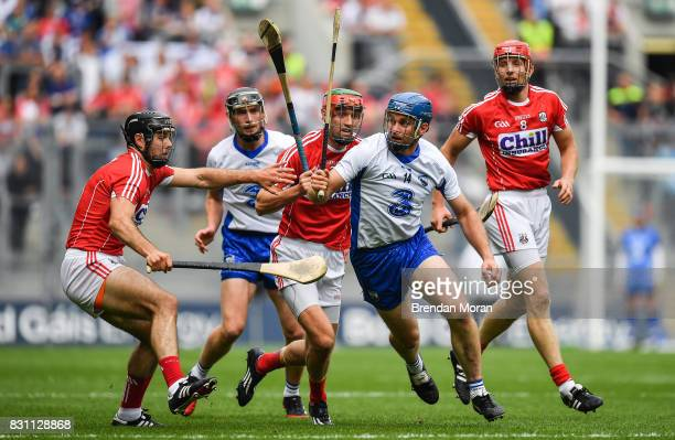 Dublin Ireland 13 August 2017 Michael Walsh of Waterford in action against Cork players from left Christopher Joyce Stephen McDonnell and Bill Cooper...