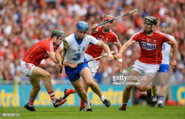 Dublin Ireland 13 August 2017 Michael Walsh of Waterford in action against Cork's from left Mark Coleman Stephen McDonnell and Mark Ellis during the...