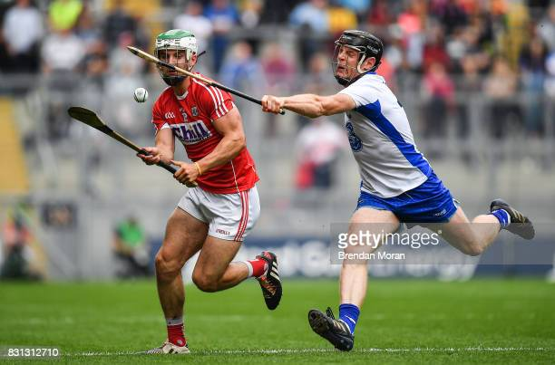 Dublin Ireland 13 August 2017 Shane Kingston of Cork in action against Kevin Moran of Waterford during the GAA Hurling AllIreland Senior Championship...