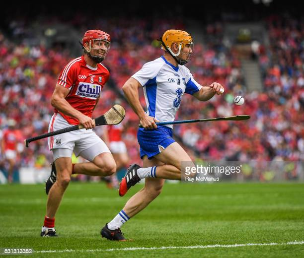 Dublin Ireland 13 August 2017 Tommy Ryan of Waterford in action against Bill Cooper of Cork during the GAA Hurling AllIreland Senior Championship...